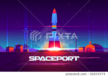 Rocketship launching from spaceport cartoon 60834574