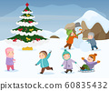 Children playing outdoor winter games in Christmas, New Year holidays vector illustration. 60835432