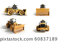 collection Yellow Bulldozer 3d render Isolated on 60837189
