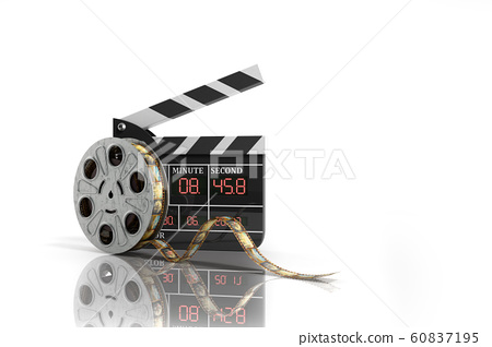 movie clapper board high quality 3d render on 60837195