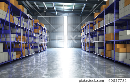 empty Hangar delivery warehouse 3d render image 60837782