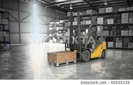 Concept of warehouse The forklift in the big 60838338