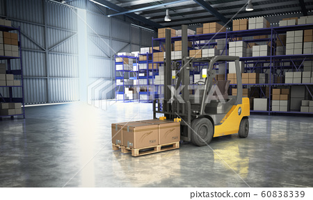 Concept of warehouse The forklift in the big 60838339
