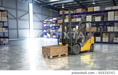 Concept of warehouse The forklift in the big 60838341