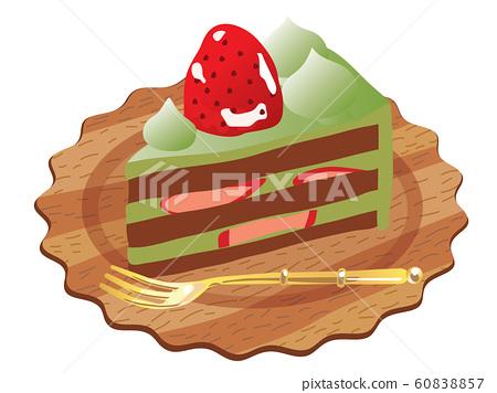 Strawberry and matcha shortcake 60838857