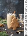 Christmas mug of coffee with marshmallow 60840245