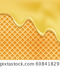 Drip honey waffle caramel background. Melt honey pattern syrup cream wafer 60841829