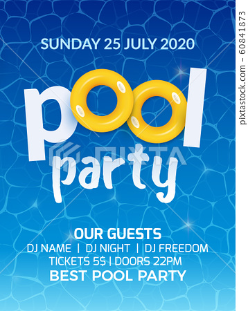 Pool summer party invitation banner flyer... - Stock Illustration ...