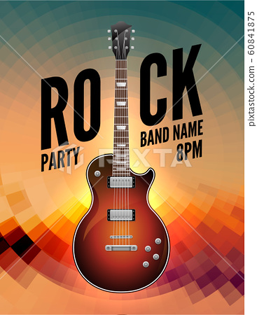 Rock music live concert poster flyer. Rock party festival show band poster with guitar 60841875