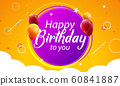 Happy Birthday greeting banner poster template card design background 60841887