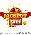 Jackpot background casino slot winner sign. Vector big game money banner 777 bingo machine design 60841889