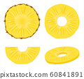 Pineapple vector slice fruit illustration. Realistic ananas piece isolated background, pineapple 60841891