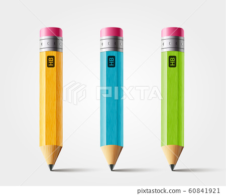Vector short pencil, realistic pencil isolated cartoon with rubber eraser 60841921
