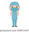 專業的插圖。女醫生為手術做準備。 60851497