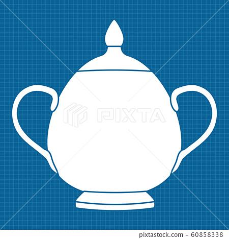 Sugar pot. White outline icon on blueprint background. Vector illustration. 60858338