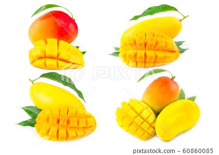 Mango fruit with mango cubes and slices. Isolated 60860085