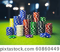 Colorful casino poker chips on the table 60860449