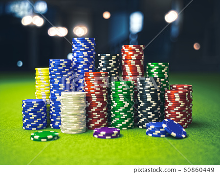 Colorful Casino Poker Chips On The Table Stock Illustration 60860449 Pixta