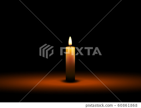 Vector candle wax isolated decoration. Candlelight flame for celebration. Glowing realistic candle 60861868