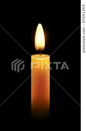 Vector wax candle flame isolated light background, realistic candlelight 60861869