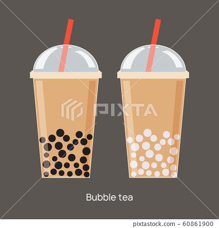Milk bubble tea vector drink tapioca cup. Boba bubble tea pearl taiwan thai drink tapioca 60861900