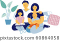 Portrait of a family of four with two children and parents. In the living room. Simple and flat vector illustration. 60864058