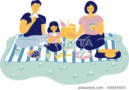 Portrait of a family of four with two children and parents. Picnic scene. Simple and flat vector illustration. 60864093