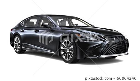 Black luxury car isolated on white background 60864240