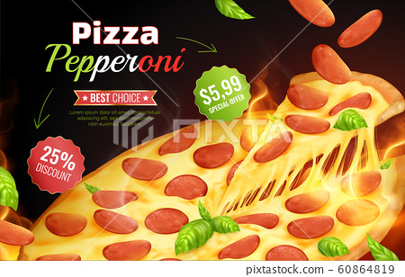 Pizza Pepperoni Advertising Composition 60864819