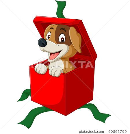 Cartoon dog peeking out of red gift box 60865799