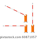 Barrier flock. Detailed illustrations of open and closed red and white automotive barriers. 60871057