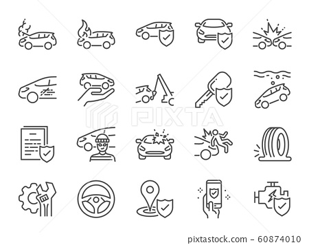 Car insurance icon set 60874010