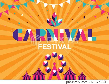 Carnival Typography, Popular Event in Brazil. 60874901