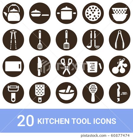 產品圖標廚房用具白色輪廓20套 60877474
