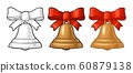 Christmas gold bell with red bow. Vintage engraving 60879138