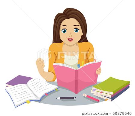 Teen Girl Determined Study Illustration 60879640