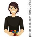 Teen Boy Chips Fundraising Casino Illustration 60879663