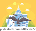 Bird Building Tower Collision Illustration 60879677