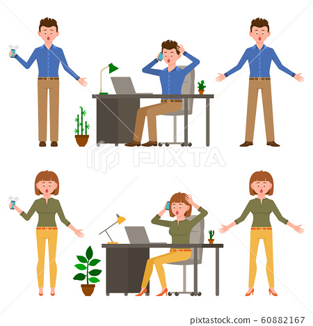 Surprised, shocked, amazed, headache office man and woman vector illustration. Stressed, worry, nervous, scared, talking on smartphone young boy and girl cartoon character set 60882167