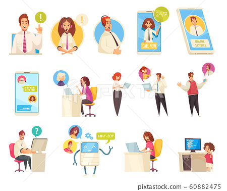 Call Center Flat Icons Set  60882475