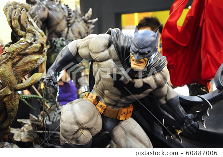 Fiction character of Batman from DC movies and comic. Batman action figure toys in various sizes display for the public. 60887006