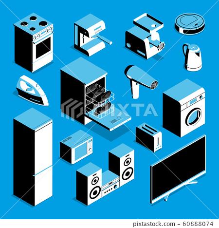 Isometric Home Appliances Set 60888074