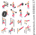 Workout Isometric Icons 60888137