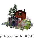 Old traditional scandinavian wooden houses, surrounded by coniferous trees and stones, covered with moss. 60888207