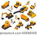 Road Construction Isometric Icon Set  60888468