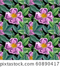 Floral seamless pattern with pink wild rose, rose hip, dog rose, green leaves, hand drawn watercolor pattern. Design for  fabric, invitation, wedding or greeting cards 60890417