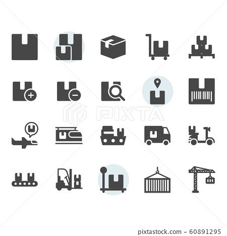 Package delivery and logistic related icon 60891295