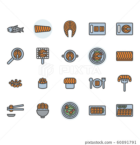 Salmon related icon and symbol set in colorline 60891791