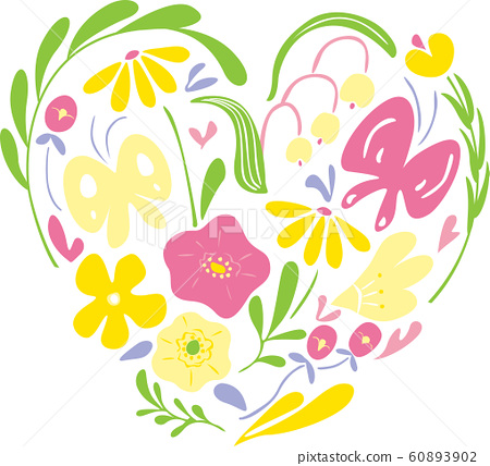 Heart shaped flowers and plants. Pastel colored spring motif. Editable vector illustration. 60893902