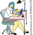 Vector illustration of a woman working on a personal computer at an office desk. Fashionable and stylish image. 60894159